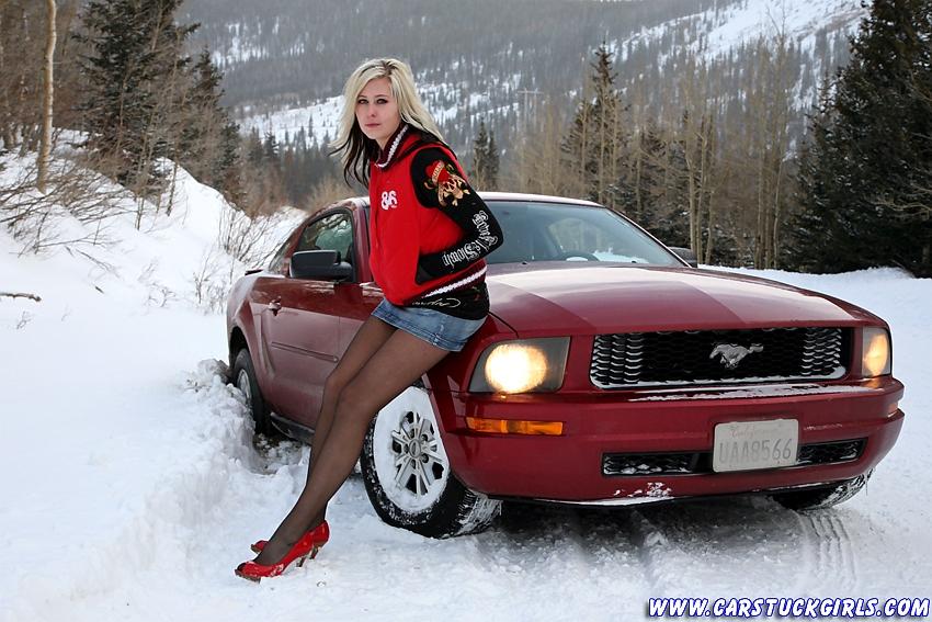 Car stuck girls naked